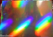 10 x A4 Rainbow Patterned Holographic Mirror Card 170gsm NEW