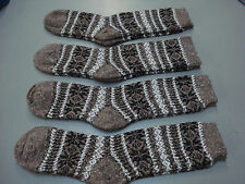 NWOT Women's Merino Wool Blend Socks Shoe Size 6-9 Brown w/ Design 4 Pair #5E