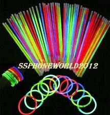 """100 x 8"""" Glow Sticks Bracelets Necklaces Party Favors Neon Color"""