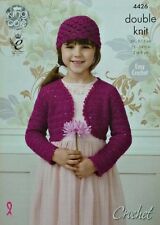 CROCHET PATTERN Childrens Easy Sequined Bolero and Hat Galaxy DK King Cole 4426