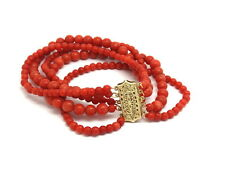 Antique Mediterranean Red CORAL 5 Strand Bead Bracelet w/ Solid 14k Gold Clasp