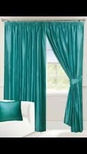 """Teal Green Curtains Tape Top 66x54"""" 168x137cm Fully Lined Incs Free Tie Backs"""