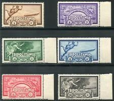 1933 Colonie Tripolitania Zeppelin 6 val. nuovi spl ** MNH bordo
