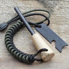 5/16'' Ferrocerium Rod Flint Fire Starter Paracord Lanyard Wooden Handle Scraper