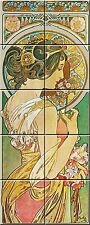 "Ceramic tile mural Art Nouveau 4.25"" Each Tile Alphonse Mucha Reproduction #002"