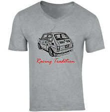 MALUCH POLISH FIAT 126 P RACING TRADITION 1P - NEW COTTON GREY V-NECK TSHIRT