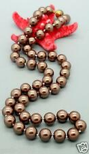 """8mm Genuine Natural Tahitia Coffee South Sea Shell Pearls Necklace 18"""""""