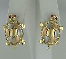 Ruby & CZs 14k Multi-Tone Gold Turtle Design Pair of Earrings (10.2 grams)
