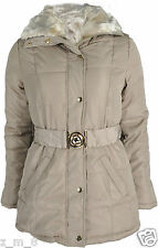 Ladies Fur Collar Padded Quilted Puffer Jacket Belted Zip Winter Coat Parka