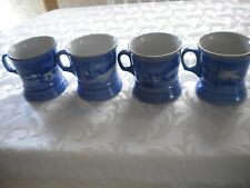 4 Currier And Ives The Old Homestead In Winter Coffee Tea Mug Cup Cobalt Blue