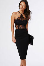 Sexy Ladies Black Lace Cut Out Bodycon Midi Halter Neck Backless Party Dress 10