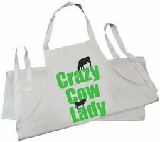 CRAZY COW LADY - NATURAL COTTON DRILL APRON - BBQ, cook, kitchen, calf
