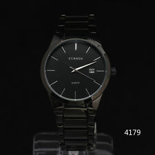 Curren Classic All Black Stainless Steel Band Day Mens Date Luxury Wrist Watch