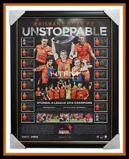Brisbane Roar Signed 2013/14 A-League Champions Team Lithogaph Framed - OFFICIAL