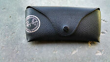 Brand New Ray Ban Black Leather Sunglasses Case Snap Travel Carrying Storage