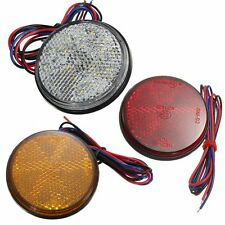 3 Colors LED Round Reflector Brake Stop Marker Light Indicator Truck Trailer Car