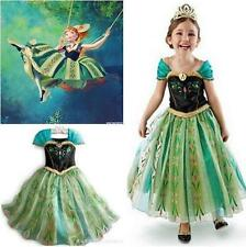 Kids Girls Princess Anna Dress FROZEN Cosplay Clothes Child Fancy Dress 6-7Y