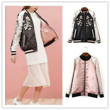 Reversible Satin Embroidered Jacket Coat Women Baseball Floral Embroidery Girl S