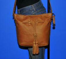 LUCKY BRAND 'SHADOW' Brown Bucket Leather Drawstring Tote Purse Cross-Body Bag