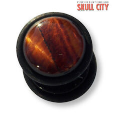 RED TIGER EYE BLACK GEMSTONE FAKEPLUG - Fake Piercing Stone Plug Ohrstecker Ear