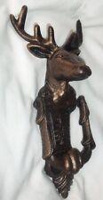 LARGE Cast Iron Deer /  Elk Head Door Knocker Bronze Finish