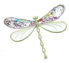 Dragonfly - Insect - Confetti Layered Green Iron On Applique Patch