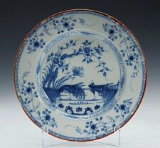 ANTIQUE LIVERPOOL BLUE & WHITE DELFT PLATE c.1750