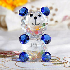 Blue Crystal Cut Glass Animal Figurines Bear Paperweights Collectibles Ornaments