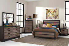 GRACE - 5 Pieces Modern Two Tones Brown Queen Panel Bedroom Set New Furniture