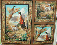 1 Yd. Wildlife Wallhanging Panel Quilt Fabric Hunting Dogs Pheasants Birds