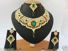 NEW HANDMADE BEAUTIFUL INDIAN GOLD PLATED PARTYWEAR KUNDAN JEWELRY NECKLACE SET