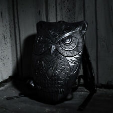 ByTheR Black R-90 Faux Leather Owl Embossed Backpack Korea Fashion Designed Bag