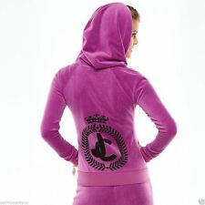 NWT Juicy Couture Women Jacket Velour Embellished Purple Hoodie size large