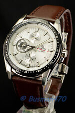 Casio Edifice EF-336L-7 Analog Gents Dress Men's White Watch 100% New & GIFT