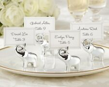 48 Lucky in Love Silver-Finish Elephant Wedding Place Card Holders Favors