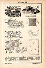 Stampa antica TIPOGRAFIA macchina per stampa tipografica 1910 Old print