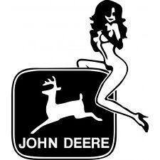John Deere Logo mit Sexy Lady Mädchen Aufkleber Sticker Folie Decor Traktor