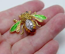 Vintage Rich 18K Guilloche Enamel Diamonds Bumble Bee Brooch Estate Jewelry