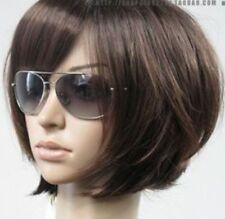 Bob Style Dark Brown Straight Fashion Women Short Hair Full Cosplay Wig Wigs