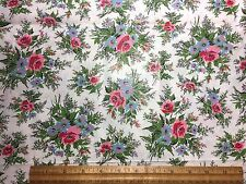 Vintage Cotton Fabric 50s PRETTY Roses & Daisy Bouquets 36w 1.5yds