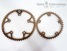 Shimano biopace 52t + 42t Super rar en bronce bicicleta de carreras cadenas hojas 1986 lk130