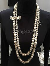 NWT CHANEL 2016 $6270 FIRST CLASS DOUBLE STRAND BOW NECKLACE CC PEARL CRYSTAL