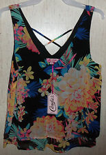 NWT WOMENS / JUNIORS Candie's DRESSY BLACK W/ FLORAL LINED TANK TOP  SIZE M