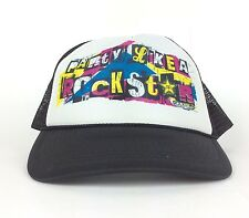 PARTY LIKE A ROCKSTAR Energy Drink Black Mesh Trucker Hat Cap Snapback