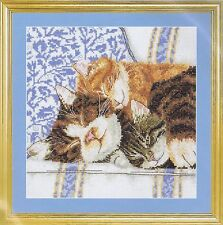 A Rest At Last Cross Stitch Kit Cats And Kittens DMC K4179 16 Count
