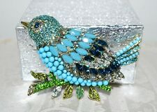 "New $230 HEIDI DAUS ""Marquise Madness"" Massive Bird Brooch Pin Turquoise"