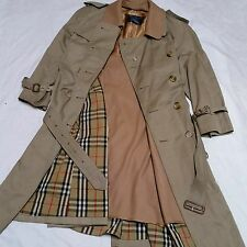 VTG Burberry Classic Trench Coat Rain Jacket Nova Check Plaid Liner Tan Mens 40