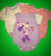 EUC! Disney Minnie Mouse Baby Girls 0-3 Months 1 pc Bodysuits Snaps Lot of 3 SS