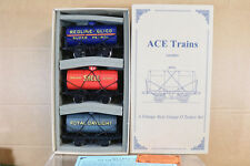 ACE TRAINS O GAUGE 3 RAIL TANK WAGON SET 5 SHELL ROYAL DAYLIGHT REDLINE nj