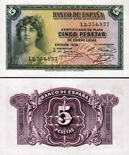 SPAIN ESPANA 5 PESETAS 1935 UNC P 85a